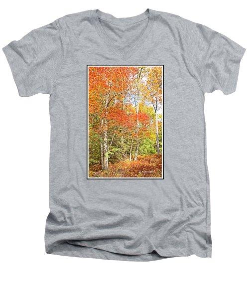 Men's V-Neck T-Shirt featuring the digital art Forest Interior Autumn Pocono Mountains Pennsylvania by A Gurmankin