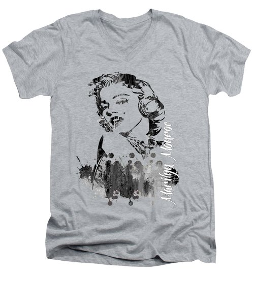 Marilyn Monroe Collection Men's V-Neck T-Shirt by Marvin Blaine