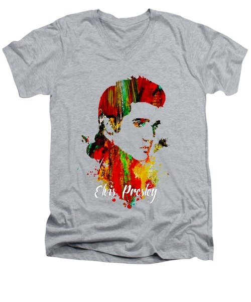 Elvis Presley Collection Men's V-Neck T-Shirt by Marvin Blaine
