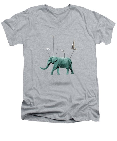 Elephant Men's V-Neck T-Shirt by Mark Ashkenazi