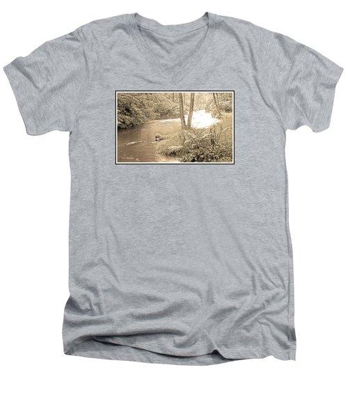 Men's V-Neck T-Shirt featuring the photograph Mud Run Pocono Mountain Stream Pennsylvania by A Gurmankin