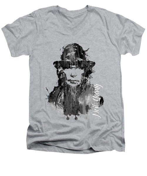 Neil Young Collection Men's V-Neck T-Shirt by Marvin Blaine