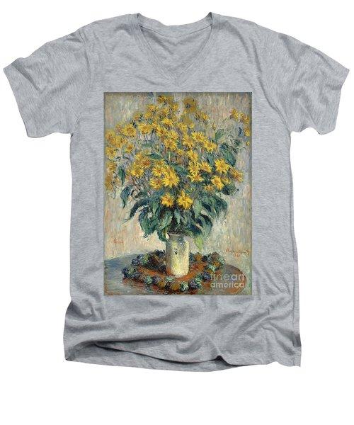 Jerusalem Artichoke Flowers Men's V-Neck T-Shirt by Claude Monet