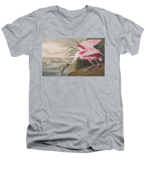 Roseate Spoonbill Men's V-Neck T-Shirt by John James Audubon