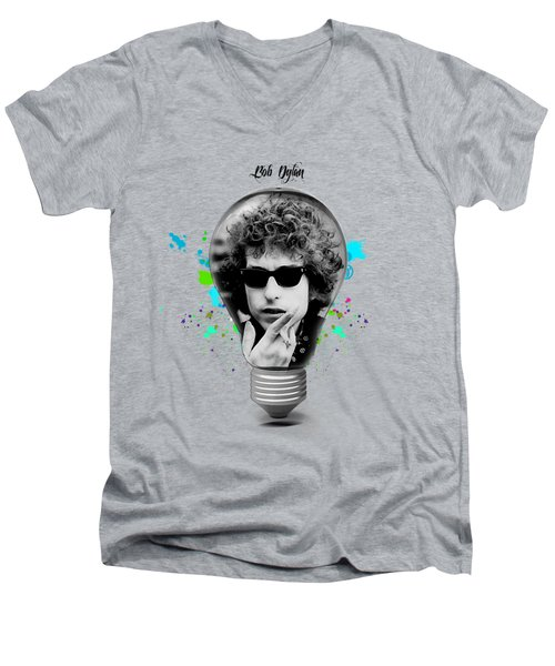 Bob Dylan Collection Men's V-Neck T-Shirt by Marvin Blaine