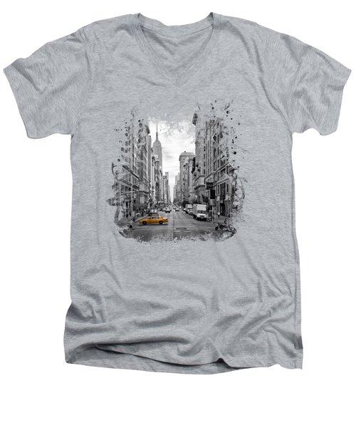 New York City 5th Avenue Men's V-Neck T-Shirt by Melanie Viola