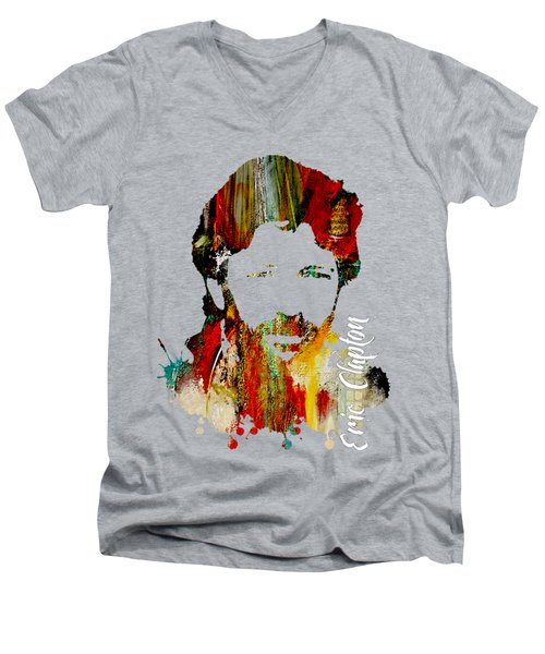 Eric Clapton Collection Men's V-Neck T-Shirt by Marvin Blaine