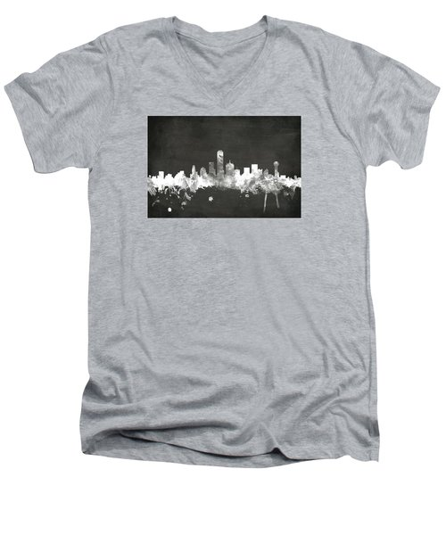 Dallas Texas Skyline Men's V-Neck T-Shirt by Michael Tompsett