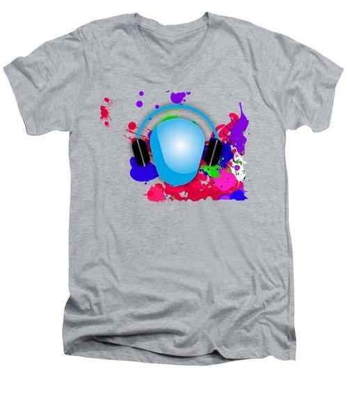 Music Men's V-Neck T-Shirt by Marvin Blaine