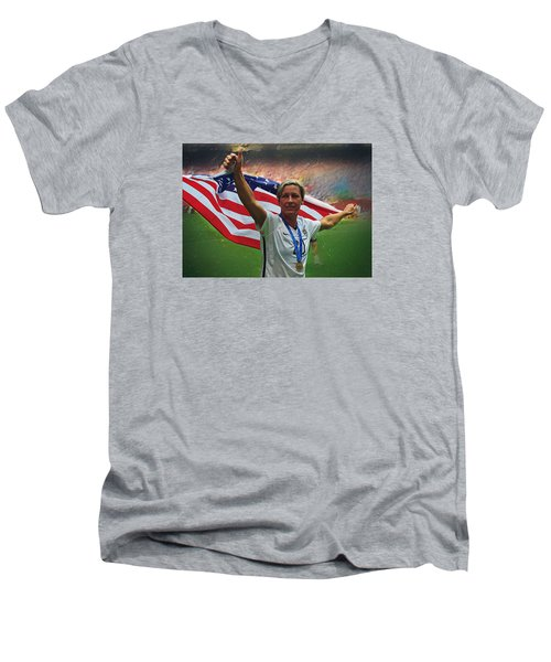 Abby Wambach Us Soccer Men's V-Neck T-Shirt by Semih Yurdabak