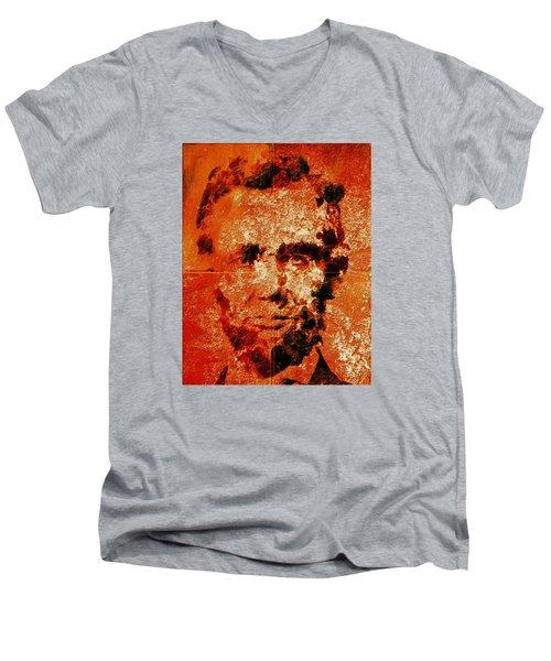 Abraham Lincoln 4d Men's V-Neck T-Shirt by Brian Reaves