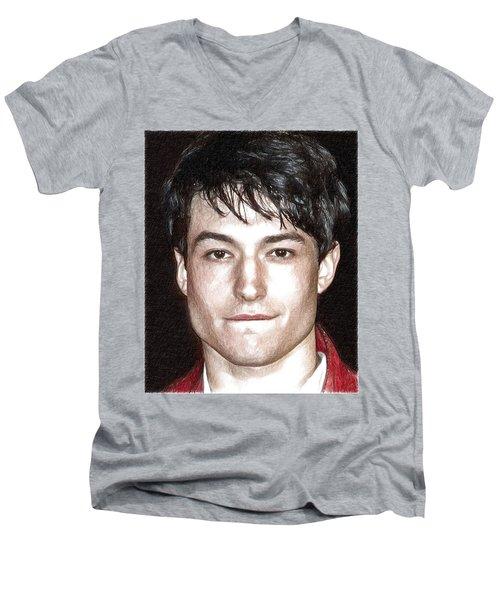 Actor And Musician Ezra Miller Men's V-Neck T-Shirt by Best Actors