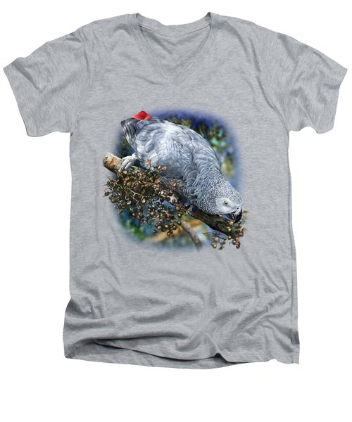 African Grey Parrot A1 Men's V-Neck T-Shirt by Owen Bell
