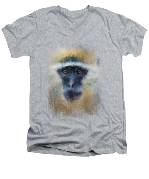 African Grivet Monkey Men's V-Neck T-Shirt by Jai Johnson