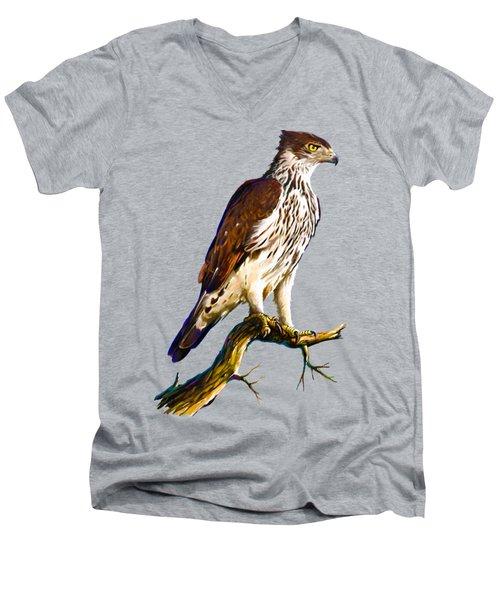 African Hawk Eagle Men's V-Neck T-Shirt by Anthony Mwangi