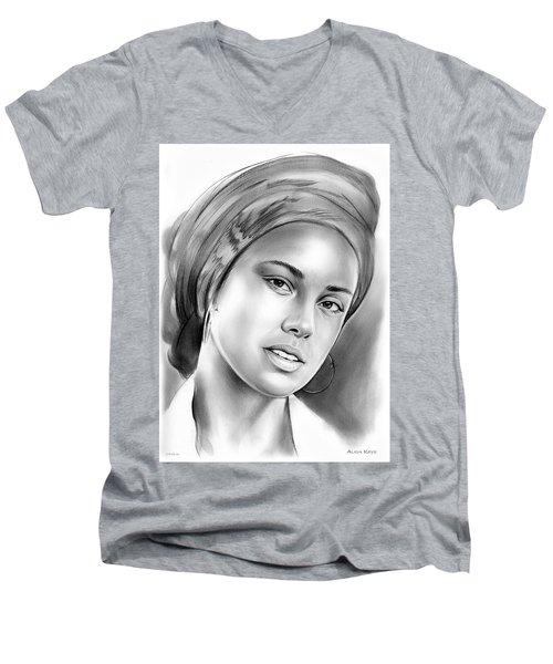 Alicia Keys Men's V-Neck T-Shirt by Greg Joens