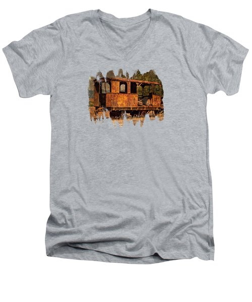 All Aboard The Excursion Car Men's V-Neck T-Shirt by Thom Zehrfeld
