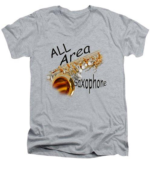 All Area Saxophone Men's V-Neck T-Shirt by M K  Miller