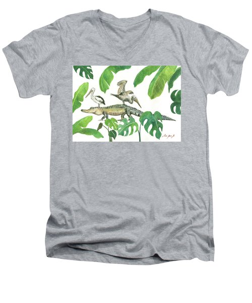 Alligator And Pelicans Men's V-Neck T-Shirt by Juan Bosco
