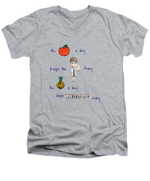 An Apple A Day Men's V-Neck T-Shirt by Humorous Quotes