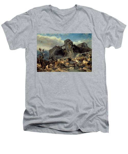 Animals Leaving The Ark, Mount Ararat  Men's V-Neck T-Shirt by Filippo Palizzi