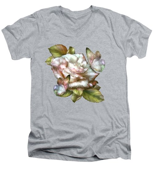 Antique Rose And Butterflies Men's V-Neck T-Shirt by Carol Cavalaris