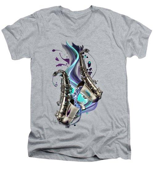 Aquarius Men's V-Neck T-Shirt by Melanie D
