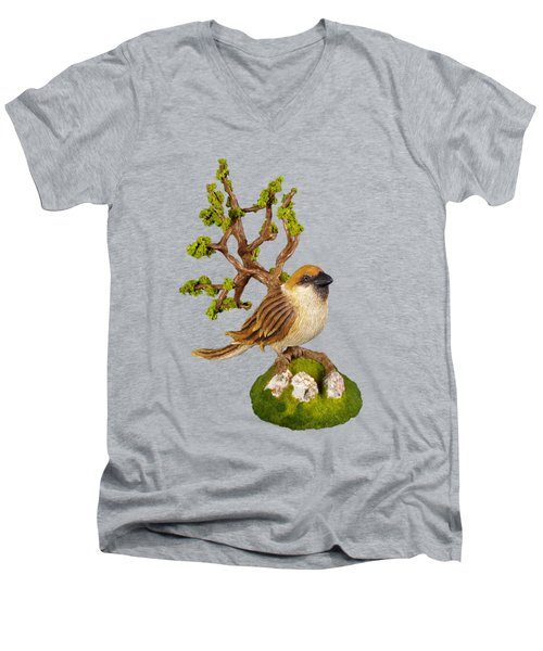 Arborescent Sparrow Men's V-Neck T-Shirt by Przemyslaw Stanuch