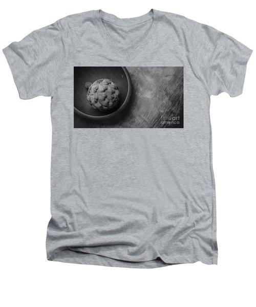 Artichoke Black And White Still Life Three Men's V-Neck T-Shirt by Edward Fielding