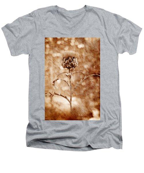 Artichoke Bloom Men's V-Neck T-Shirt by La Rae  Roberts