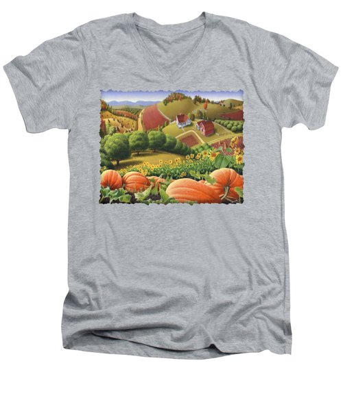 Farm Landscape - Autumn Rural Country Pumpkins Folk Art - Appalachian Americana - Fall Pumpkin Patch Men's V-Neck T-Shirt by Walt Curlee