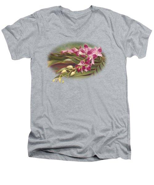 Dendrobium Orchids Men's V-Neck T-Shirt by Lucie Bilodeau
