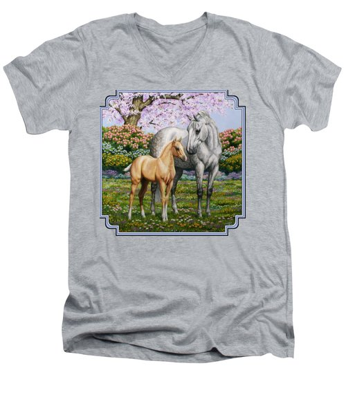 Spring's Gift - Mare And Foal Men's V-Neck T-Shirt by Crista Forest