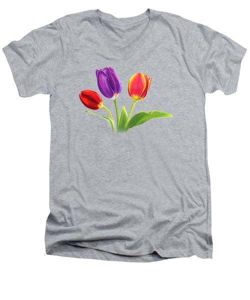 Tulip Trio Men's V-Neck T-Shirt by Sarah Batalka