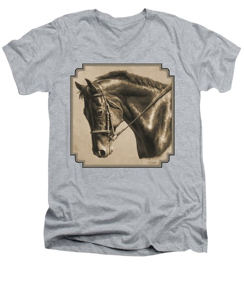 Horse Painting - Focus In Sepia Men's V-Neck T-Shirt by Crista Forest