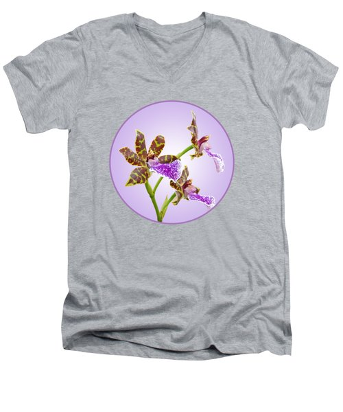 Bold And Beautiful - Zygopetalum Orchid Men's V-Neck T-Shirt by Gill Billington