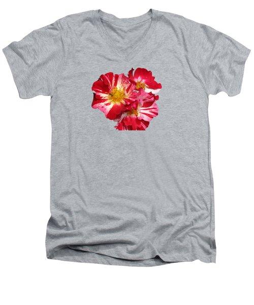 July 4th Rose Men's V-Neck T-Shirt by M E Cieplinski