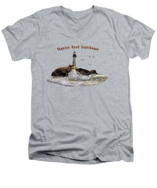 Oregon Lighthouse Beam Of Hope Men's V-Neck T-Shirt by Regina Femrite
