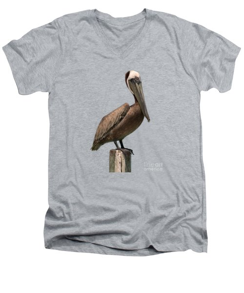 Pelican Perched On A Piling Men's V-Neck T-Shirt by John Harmon