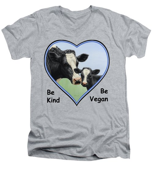 Holstein Cow And Calf Blue Heart Vegan Men's V-Neck T-Shirt by Crista Forest
