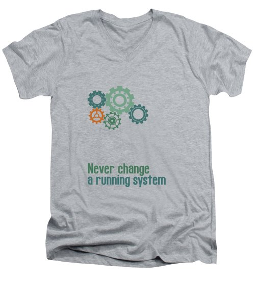 Never Change A Running System Men's V-Neck T-Shirt by Jutta Maria Pusl