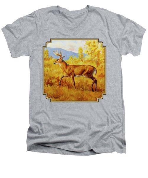 Whitetail Deer In Aspen Woods Men's V-Neck T-Shirt by Crista Forest