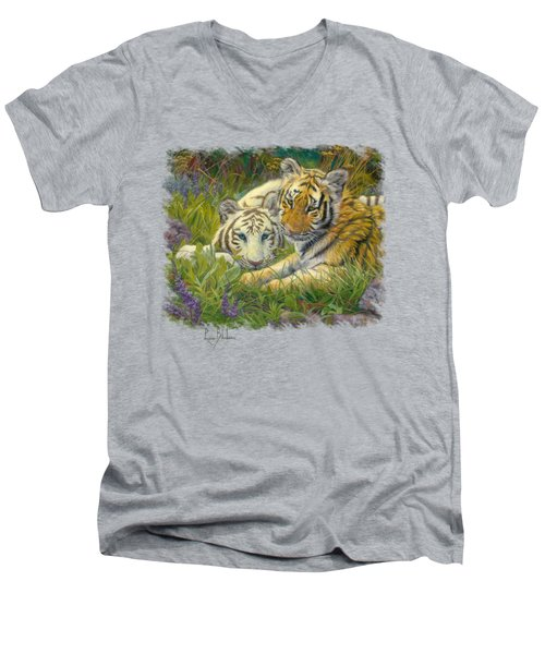 Sisters Men's V-Neck T-Shirt by Lucie Bilodeau