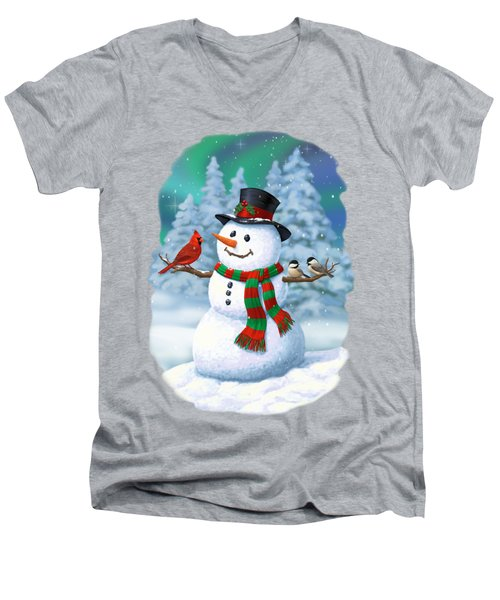 Sharing The Wonder - Christmas Snowman And Birds Men's V-Neck T-Shirt by Crista Forest