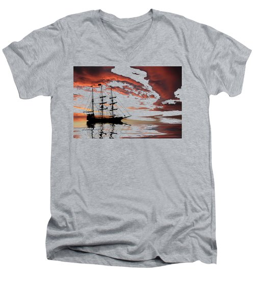 Pirate Ship At Sunset Men's V-Neck T-Shirt by Shane Bechler