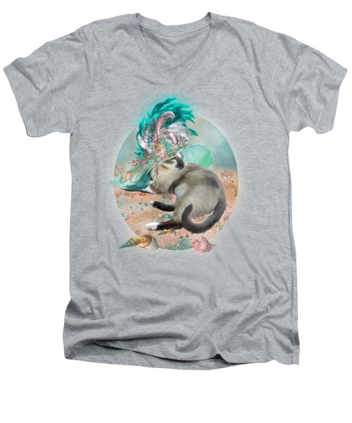 Cat In Summer Beach Hat Men's V-Neck T-Shirt by Carol Cavalaris