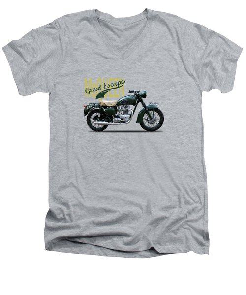 The Great Escape Motorcycle Men's V-Neck T-Shirt by Mark Rogan