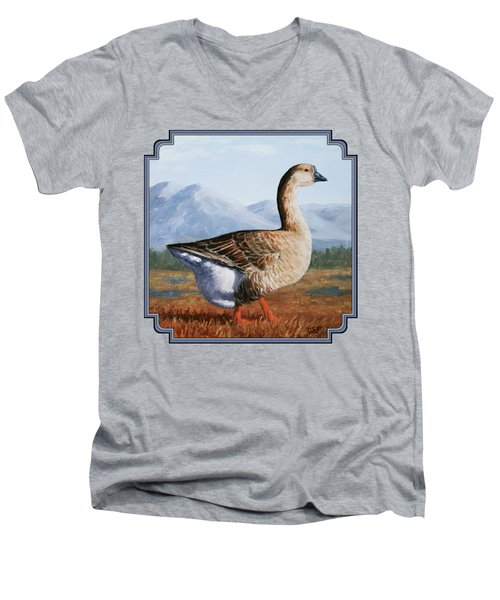 Brown Chinese Goose Men's V-Neck T-Shirt by Crista Forest