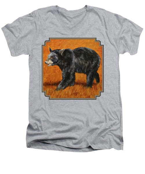 Autumn Black Bear Men's V-Neck T-Shirt by Crista Forest