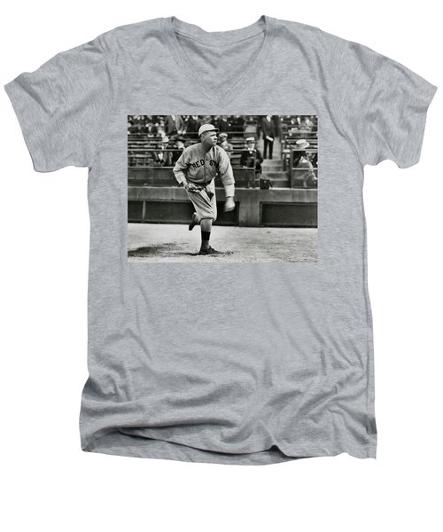 Babe Ruth - Pitcher Boston Red Sox  1915 Men's V-Neck T-Shirt by Daniel Hagerman